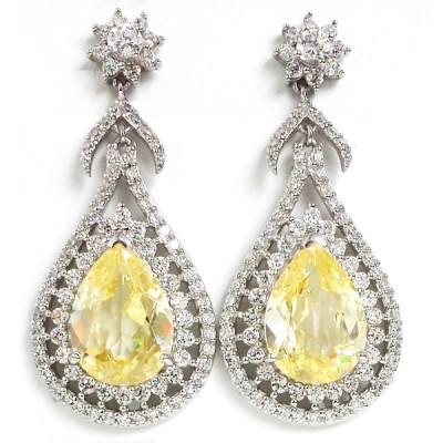 Brass Earring Lux Tear Drop Canary Cz + Clr Cz, Clear