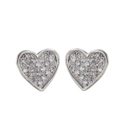 Brass Earg 8*8Mm Heart W/Cl Cz Pave Stud
