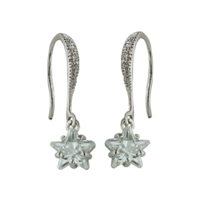 Brass Earring Cl Cz Star Dangle On Cl Cz Fish Hook