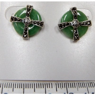 Marcasite Earring Green Jade with Corss Marcasite on Top