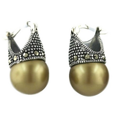 Marcasite Earring Latch Olive Pearl 13mm (Matching 6M-574P)
