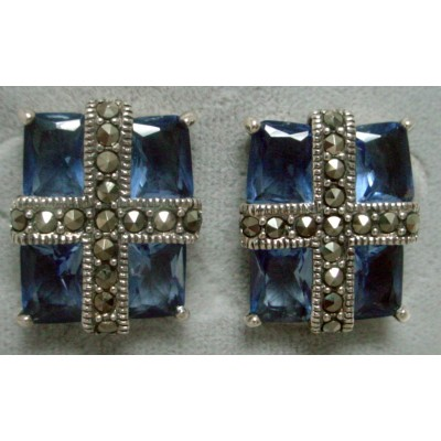Marcasite Earring Cross with 4 Pcs Tz Crystl