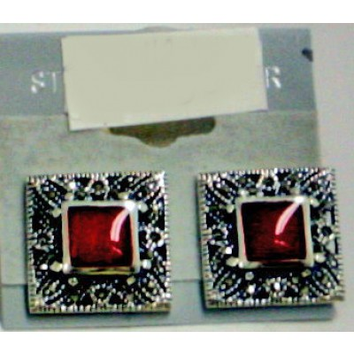 Marcasite Earring Square Inlaid Garnet Mother of Pearl with Marcasite Border