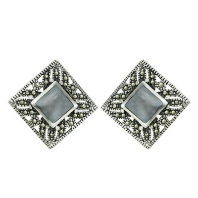 Marcasite Earring Square Inlaid Black Mother of Pearl with Marcasite Border