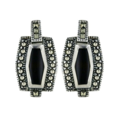 Marcasite Earring Inlaid Onyx Marcasite Border