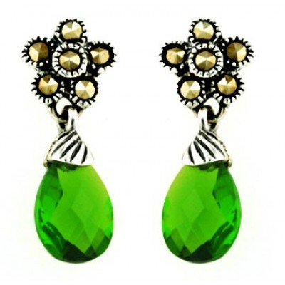 Marcasite Earring Flower Top with Flat Chess Cut Teardrop Peridot C