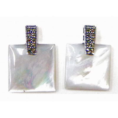 Marcasite Earring 18X18mm White Mother of Pearl Square