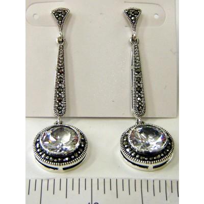 Marcasite Earring Long Tear Drop+10mm Round Clear Cubic Zirconia