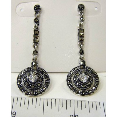Marcasite Earring Square Cut Bar with Circle+Clear Cubic Zirconia