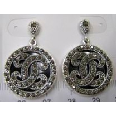 Marcasite Earring Script C with Onyx
