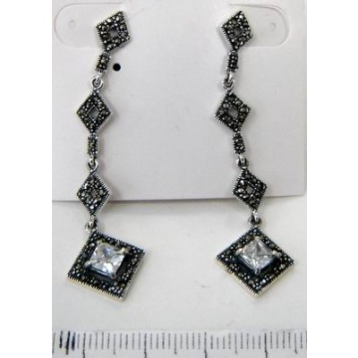 Marcasite Earring 3 Open Rhombus Top with Princess Cut Clear Cubic Zirconia