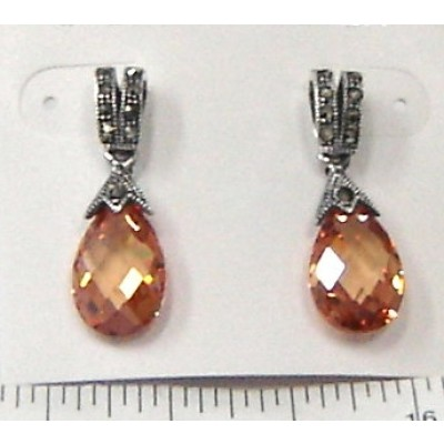 Marcasite Earring Marcasite 'V' with Champagne Cubic Zirconia Chess Cut Broilette Drop