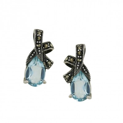 Marcasite Earring 'X' with Aqua Marine Glass Tear Drop
