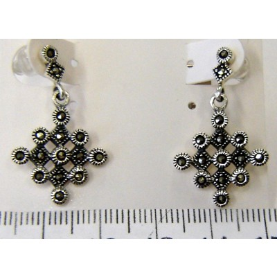 Marcasite Earring 9Pcs Bezel with 4Pcs Marcasite Dangle
