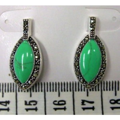 Marcasite Earring Faux Turquoise Marquis