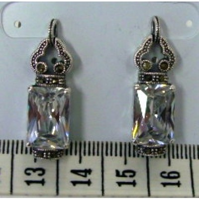Marcasite Earring 13X9mm Rectangular Clear Cubic Zirconia with Marcasite Top+Bottom