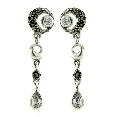 Marcasite Earring Circle with Clear Cubic Zirconia Bezel+Tear Drop