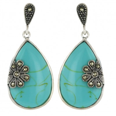 Marcasite Earring Faux Turquoise Tear Drop with Marcasite Flower