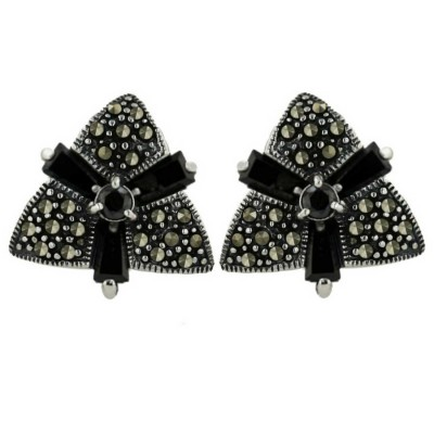 Marcasite Earring 3 Black Cubic Zirconia Baguette Triangle