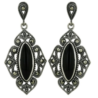 Marcasite Earring Long Oval Onyx Victorian
