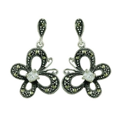 Marcasite Open Butterfly with 4X3mm Clear Cubic Zirconia Ctr