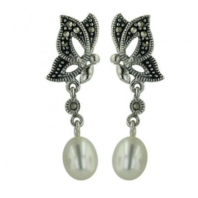 Marcasite Earring Folder Butterfly with White Fresh Water Pearl Dangle