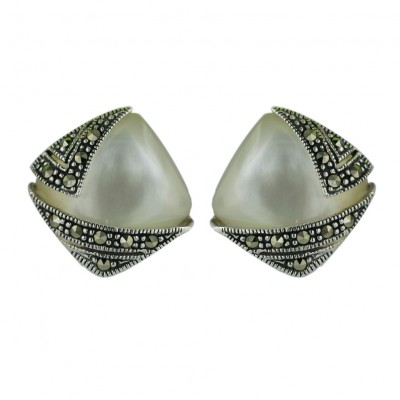 Marcasite Earring 15X15mm Cabochon White Mother of Pearl Cushion with Marcasite L