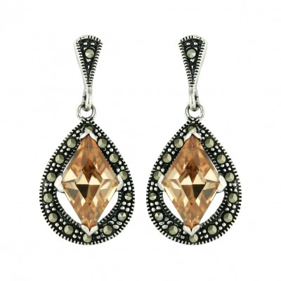 Marcasite Earring 17X13mm Open Pave Marcasite Tear Drop with 13X8mm Champagne Cubic Zirconia