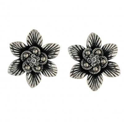 Marcasite Earring Marcasite Ctr 6 Oxidize Petals Flower Line Texture