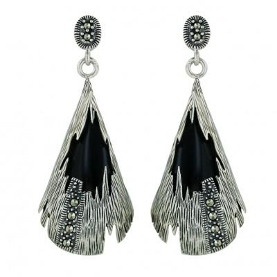 Marcasite Earring Line Texture Marcasite Onyx Irreg.Pcs