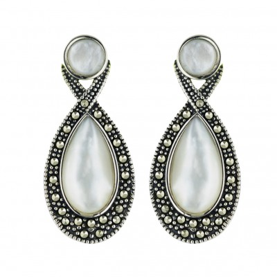 Marcasite Earring Criss Cross Lines White Mother of Pearl Tear Drop