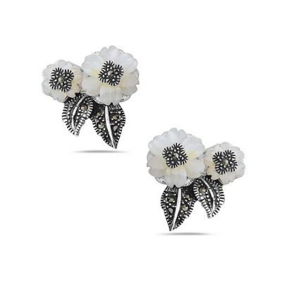 Marcasite Earring 2 White Mother of Pearl Flower with Marcasite Leaf