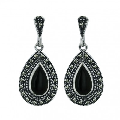Marcasite Earring 19X13mm Onyx Tear Drop with Pave Marcasite Around+Oxidi