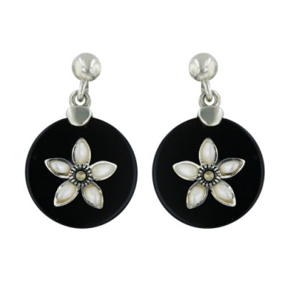 Marcasite Earring 15mm Onyx Round with White Mother of Pearl Flower Ctr