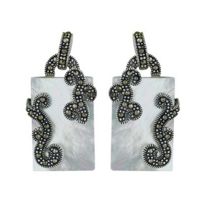 Marcasite Earring 22X14mm White Mother of Pearl Rectangular Flatbase with Pave Marcasite