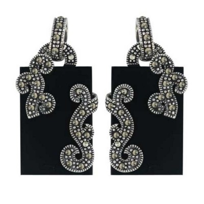 Marcasite Earring 22X14mm Onyx Rectangular Flatbase with Pave Marcasite Fili
