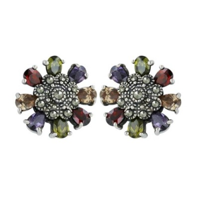 Marcasite Earring Garnet +Olivine+Champagne+Amethyst Cubic Zirconia Flower with Pave Marcasite Ctr