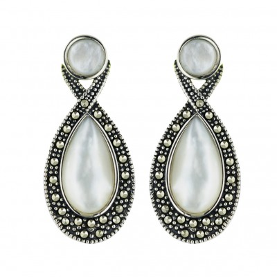 Marcasite Earring White Mother of Pearl Tear Drop with Pave Marcasite Around