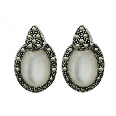 Marcasite Earring White Mother of Pearl Cabochon Oval with Pave Marcasite Trillion