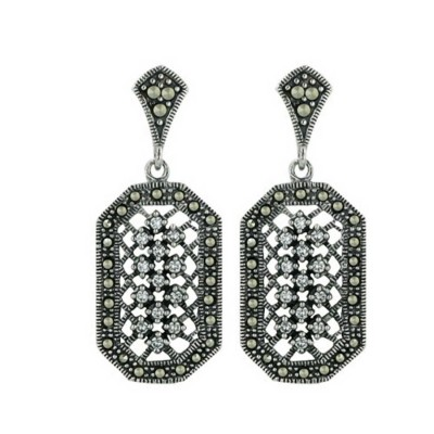 Marcasite Earring 15-23mm Rectangle with Clear Cubic Zirconia Dangle