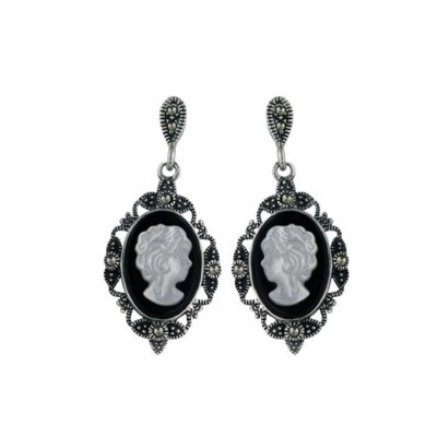 Marcasite Earring 10-14mm Oval Shape with Lady Cameo