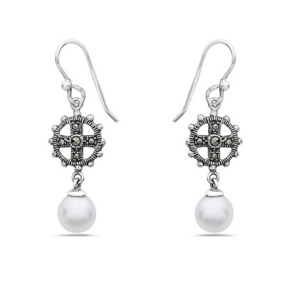 Marcasite Earring with Cross with Dangle Fresh Water Pearl