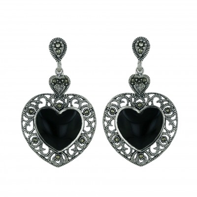 Marcasite Earring Heart with Onyx Center with Post