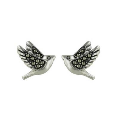 Marcasite Earring 13-13mm Bird Stud