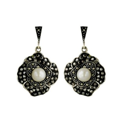Marcasite Earring 6.35mm Fresh Water Pearl Center with Black Cubic Zirconia Pave Ferido Flo