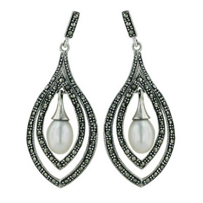 Marcasite Earring Leaf Shape with 7X10mm Fresh Water Pearl