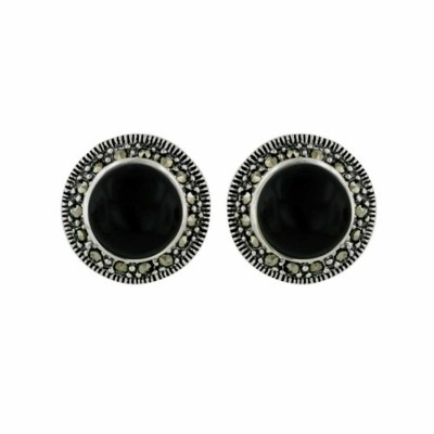 Marcasite Earring 8mm Onyx with Marc. Stud