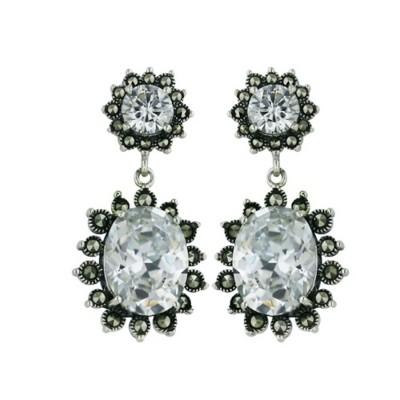 Sterling Silver Earring Clear 6mm Rd Post 10X13 Oval Dangle