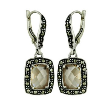 Marcasite Earring 9X7mm Chess Cut Square Champagne Cubic Zirconia Marcasite Around Lever