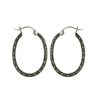 Marcasite Earring Open Oval Hoop on Latch Hook